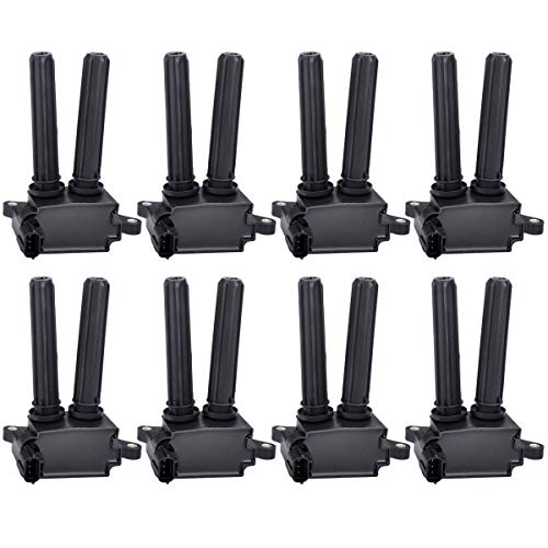 Ignition Coil Pack of 8 Replaces # UF504, C1526 for V8 5.7L 6.1L 6.4L - Chrysler 300, Aspen & Dodge Challenger, Charger, Durango, Magnum, Ram & Jeep Commander & More, Years 2005-2016 - 2 Yr Warranty ()