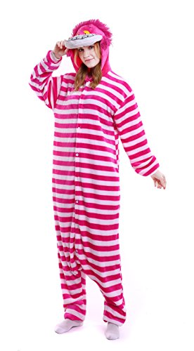 Cheap Cheshire Cat Costumes (Dingwangyang Uinisex Adult Pajamas Onesie Kigurumi Cosplay Costumes Animal Jumpsuit Cheshire Cat-S)