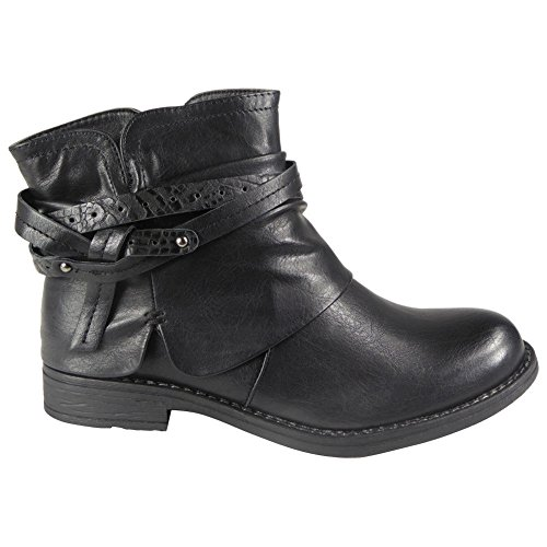 New Womens Strappy Rouched Flat Low Heel Casual Ladies Combat Ankle Boots Size 3-8 Black GdG1wn