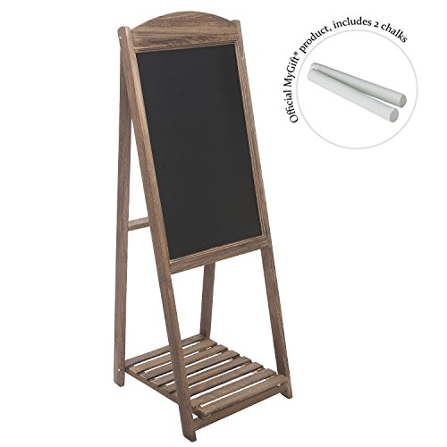 MyGift Rustic Wood A-Frame Easel Chalkboard, Erasable Memo Board w/Shelf, Brown by MyGift (Image #4)