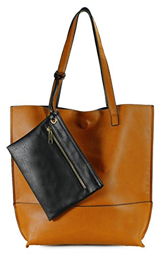 (Scarleton Trendy Reversible Tote Bag H20182501 - Camel/Black)