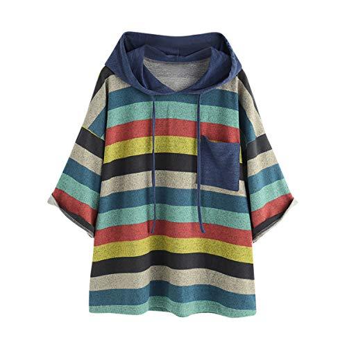 [해외]Thenxin Women`s Color Block Patchwork Hoodies Sweatshirt Loose Fit Long Sleeve Pullover Blouses / Thenxin Women`s Color Block Patchwork Hoodies Sweatshirt Loose Fit Long Sleeve Pullover Blouses(Blue,L)