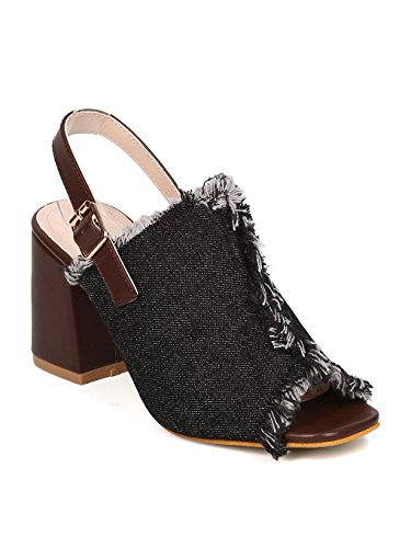 Nature Breeze Women Denim Chunky Heel Mule - Dressy, Casual, Everyday - Frayed Slingback Mule - GF49 by Black (Size: 8.5) (Heel Denim Mule)