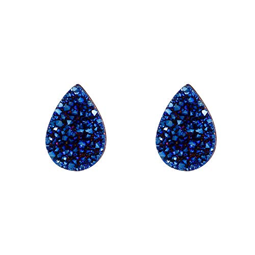 EleQueen Women's 925 Sterling Silver Dark Druzy Gemstone Teardrop Shape Blue Stud Earrings