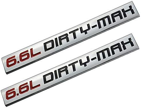 Black//Red 2x 6.6L DIRTY-MAX Alloy Trunk Door Fender Bumper Badge Decal Emblem Adhesive