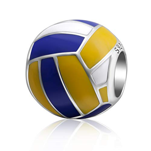 SOUKISS Love Ball Sports Charms 925 Sterling Silver Baseball Volleyball Beads Fits European Bracelet (Volleyball)]()
