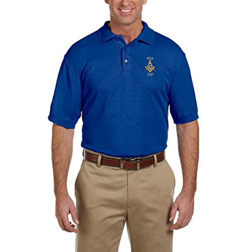 Prince Hall 1787 Embroidered Masonic Men's Polo Shirt - [True Royal][X-Large] -