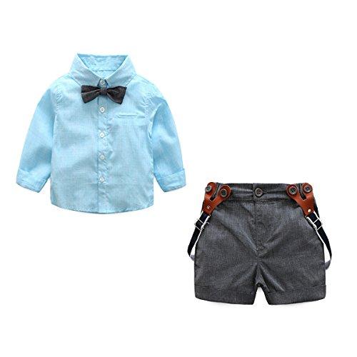 JIANLANPTT Baby Boys Formal Shirt+Suspender Shorts Bowtie Toddler Gentlemant Set