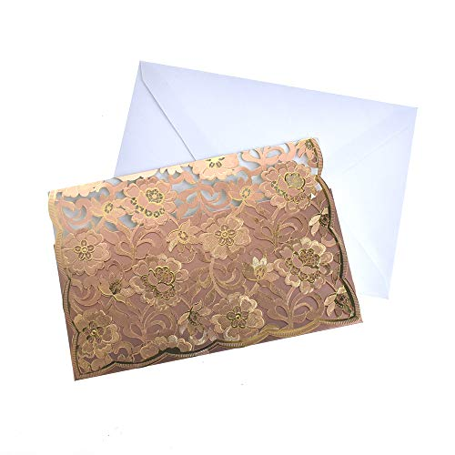 - Homeford Rectangular Laser Cut Floral Imprint Blank Invitations, 7-1/4 Inch, 8-Piece (Rose Gold)