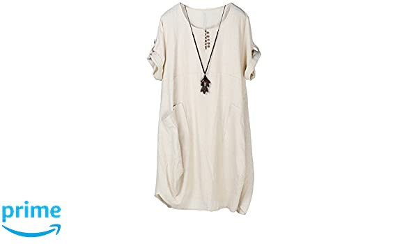 Plus Size Women Daily Casual Short Sleeve Pockets Solid Shift Dress