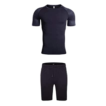 Amazon.com : QJKai Summer Leisure Sports Suit Mens Stretch ...