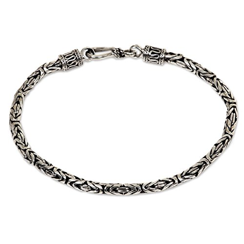 NOVICA .925 Sterling Silver Balinese Chain Bracelet, Borobudur Collection