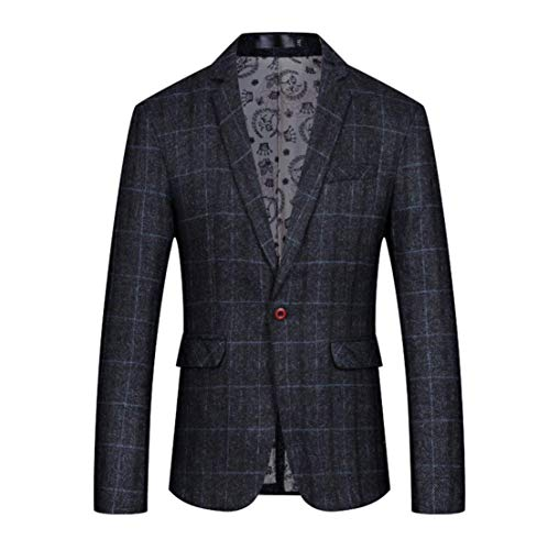 Men's Casual Suit Jacket One Button Slim Fit Plaid Sports Coat Blazer (Black, Medium)
