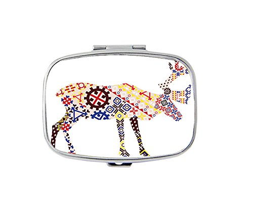 Rectangle Pill Case - A silhouette of a reindeer Lapland patterns Custom Fashion Style pill box - 2 Compartments pill box/pill (Lapland Reindeer)