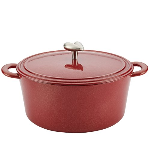 Ayesha Curry Cast Iron Enamel Covered Dutch Oven, 6-Quart, Sienna Red (Soup Sienna)