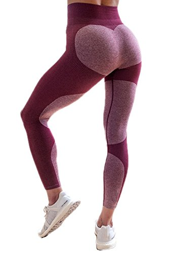 (2017 Hot! Women's Fitness Leggings Workout Ankle-Length Yoga Pants Super Stretch Sportwear #4 Rose Red,S UPS Post)