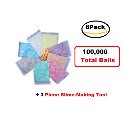 Foam Balls for Slime: Light Colored Bundle, Unique Pastel Colors, 8 Pack Kit, 8 Pack Styrofoam Balls, 3 Piece Slime Tools for Slime Making, Big Sized Bags with 100,000 total balls (Pastel Big)