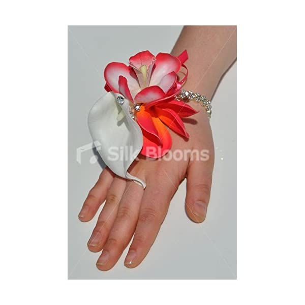 Beautiful Orange and Pink Frangipani Wrist Corsage with White Calla Lily and Crystal Bracelet