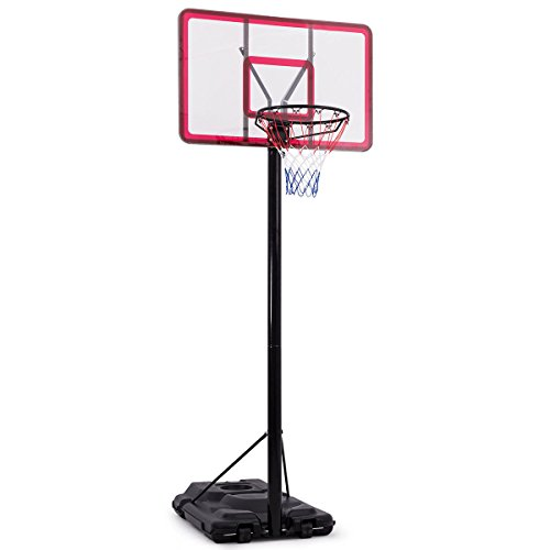 Giantex Portable Sports Basketball Hoop, Height Adjustable 7.5 FT - 10 FT, In-Ground Base with Wheels, 44 Inch Shatterproof Backboard, Basketball Hoop System Stand Outdoor Indoor
