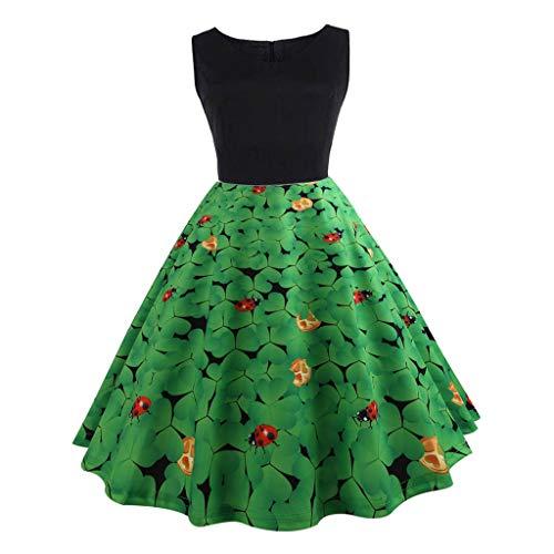 Haluoo Women Dresses, Elegant Women's Vintage Print Sleeveless Pleated Dresses St. Patricks Day Evening Party Swing Dress Green Shamrocks Patchwork Casual A Line Dress (X-Large, Green)