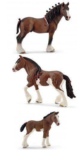 Schleich Clydesdale Horse Family of 3 Horses (13808, 13809, 13810) Bagged and Ready to Give!