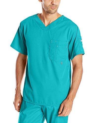 Professional Uniform (Grey's Anatomy Men's Modern Fit V-Neck Scrub Top, Teal, Large)
