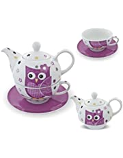 Porseleinen theeset Tea for one theeservies theepot kop onderzetter uil roze wit