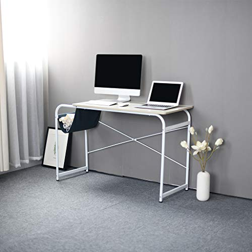 Sodoop Computer Desk with Cloth Bag Storage, Modern Wooden Desktop Laptop Desk Study Table Workstation Office Desk, Writing Table