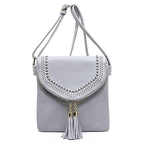 Tassel Americana with Crossbody Style Light Size Bag Zipper Gray Envelope Tall nn6OP1Ex