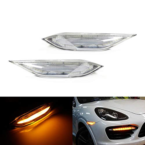 iJDMTOY Clear Lens Amber Full LED Front Side Marker Light Kit For 2011-14 Pre-LCI Porsche Cayenne, Powered by SMD LED, Replace OEM Sidemarker Lamps (Porsche Cayenne Front Bumper)