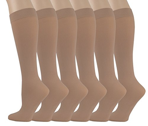 Spandex Stretch Trousers - 6 Pairs Pack Women Stretchy Spandex Trouser Socks Opaque Knee High (Beige)
