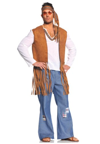 Underwraps Costumes  Men's Retro Hippie Costume - Right On, White/Tan/Blue, XX-Large]()