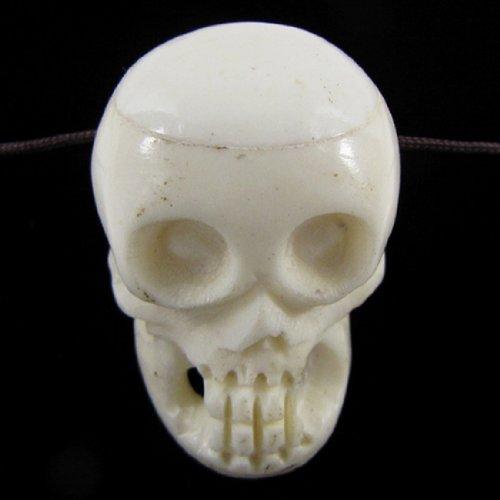 37mm white bone carved skull pendant bead