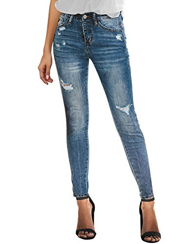 Uqnaivs Women's High Rise Ripped Skinny Jeans Distressed Slim Fit Denim Pants
