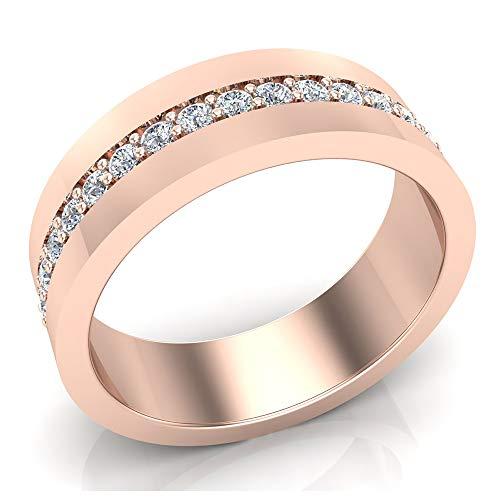 0.45 ct tw Men's Diamond Wedding Band Groove & Diamond Look 18K Rose Gold (Ring Size 10.5)