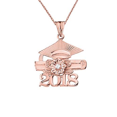 Dazzling 14k Rose Gold Diamond Class of 2018 Graduation Charm Pendant Necklace, 22