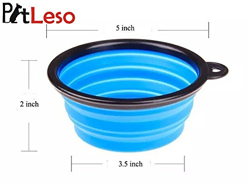 Pet Leso Pop-up Pet Bowl Travel Bowl Water Feeder Bowl Portable Bowl For Dogs Cats -Blue