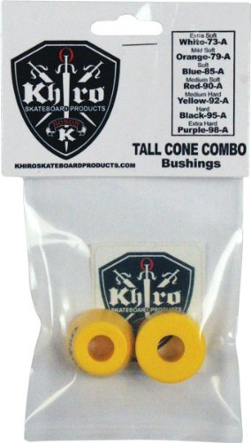 - Khiro Tall Cone Medium Hard Yellow Skateboard Bushings - 92a