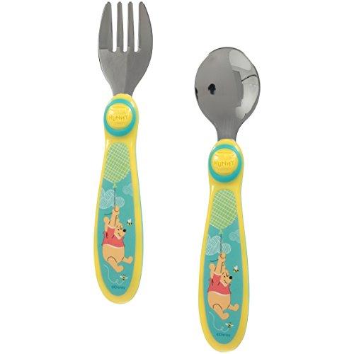 Disney Winnie the Pooh Utensils Set - Easy Grip Fork and Spoon, Stainless Steel (Disney Flatware Set)