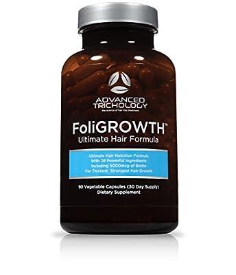 FoliGROWTH Hair Growth Vitamin - Gluten Free, Vegan Formula - with High Potency Biotin, Stop Hair Loss - Get Thickest Strongest Hair Growth Guaranteed