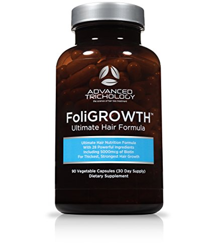 FoliGROWTH Ultimate Hair Growth Vitamin - Gluten Free, Vegan Formula, 3rd Party Tested - High Potency Biotin, Hair Loss Supplements – Hair Skin and Nails Vitamins - Hair Growth Products Guaranteed by Advanced Trichology