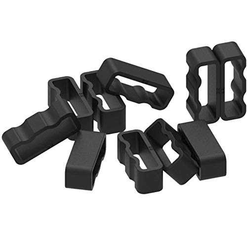 TenCloud 10-Pack Replacement Black Silicone Secure Band Holders Keepers Fasteners Loop for Forerunner 225 Watch ()