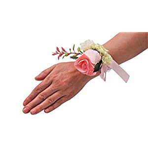 Abbie Home Real Touch Prom Corsage Boutonniere Set Flower Pin Wristlet for Party-Pink 5