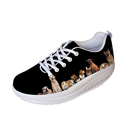 FOR U DESIGNS Black Rocker Shoes Fun Puppy Printing Womens Mesh Sports Tennis Wedges Platform Fitness Walking Sneaker US 9