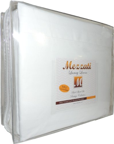 Mezzati 1800 Thread Count Brushed Microfiber Prestige Collection Luxury Bed Sheets Set, Queen, White