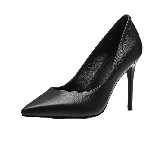 Enmayer Donna Slip-on Tacchi Alti Scarpe A Punta Per Le Donne Casual Vestito Partito Scarpe Basse A Spillo Nero