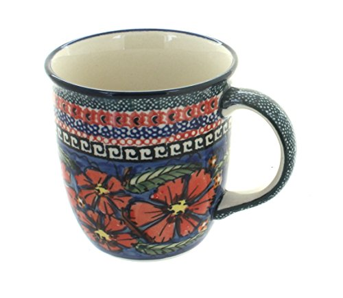 Blue Flower Plain Dinnerware (Polish Pottery Jungle Flower Plain Coffee Mug)