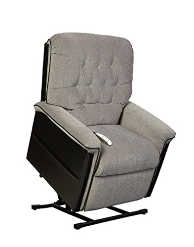 Windermere Quinn NM1250 Power Electric Lift Chair Three Position Recliner by Mega Motion - Sand Crypton Fabric with Chestnut Vinyl Accents - In-Home Delivery