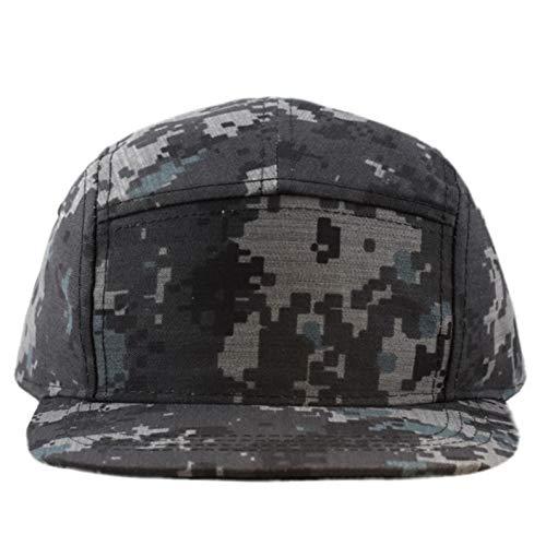 The Hat Depot Cotton Twill 5 Panel Flat Brim Genuine Leather Brass Biker Board Cap (Camo5)