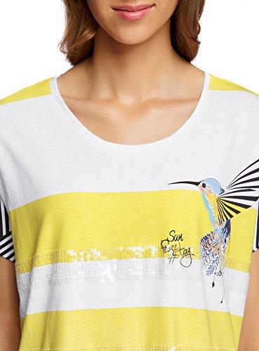 oodji Ultra Mujer Camiseta Estampada Blanco (1052P)
